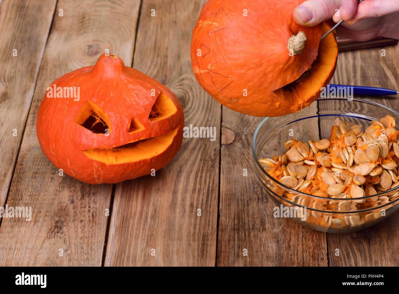 Scraping Another Pumpkin Making A Pumpkin Lantern For Halloween