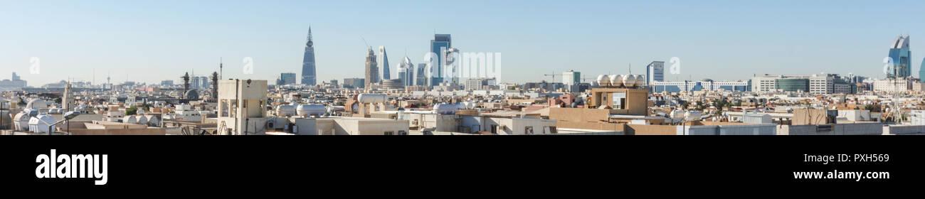 Riyadh, Saudi Arabia, KSA - November 21, 2017 buildings group from Worood district and Uroba road in Riyadh Stock Photo
