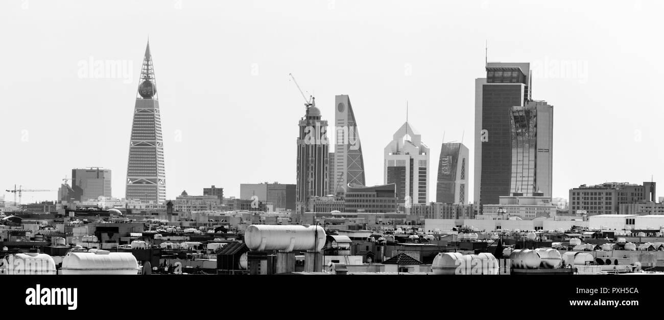 Riyadh, Saudi Arabia, KSA - November 21, 2017 buildings group from Worood district and Uroba road in Riyadh - Stock Image