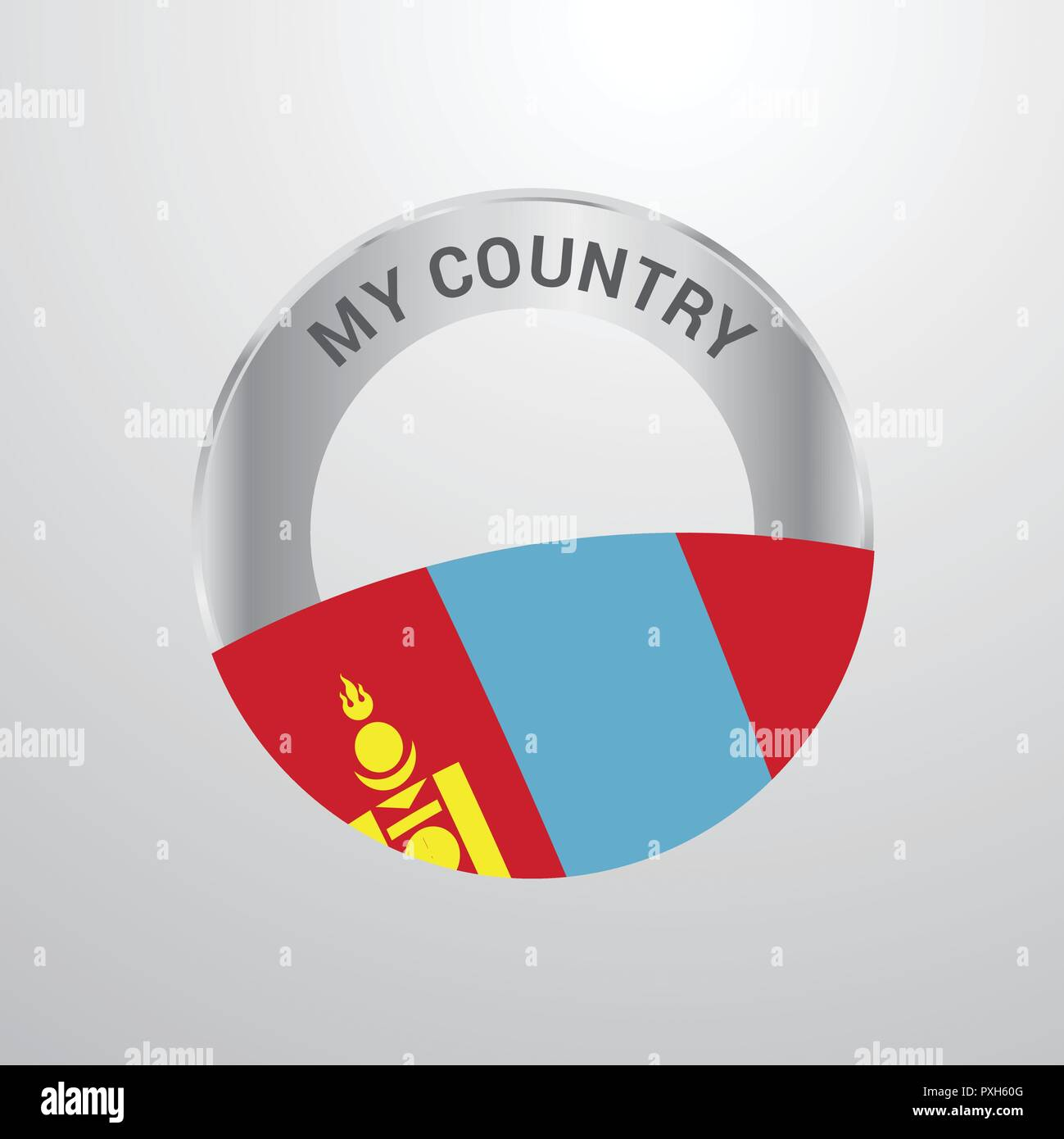 Mongolia My Country Flag badge - Stock Vector