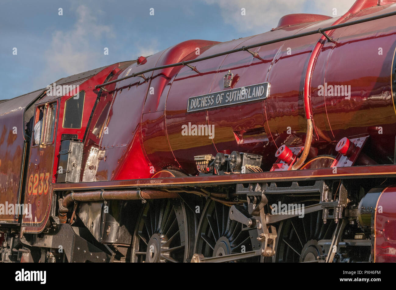 No.46233 'Duchess of Sutherland' the Midland and Scottish Railway (LMS) Princess Coronation Class 4-6-2 'Pacific' type steam locomotive built in 1938. - Stock Image