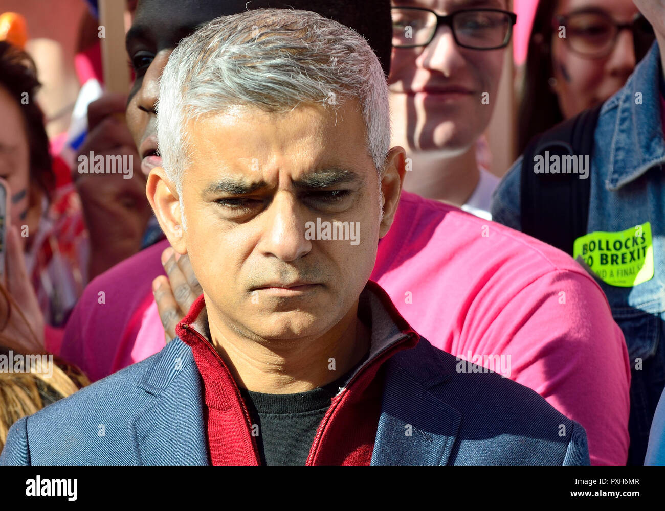 Sadiq Khan, Mayor of London, at the start of the People's Vote March in support of a second Brexit referendum, London, 20th October 2018 - Stock Image