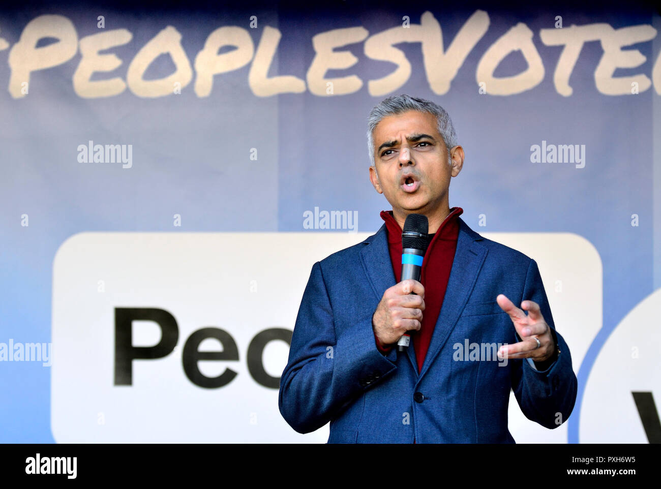 Sadiq Khan, Mayor of London, speaking at the People's Vote March in support of a second Brexit referendum, London, 20th October 2018 - Stock Image
