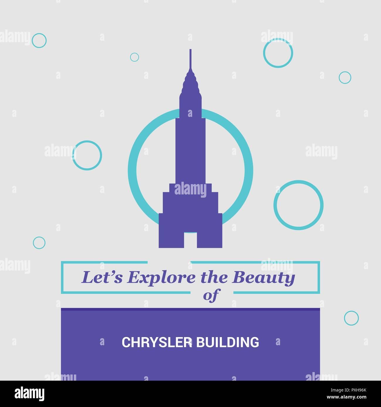 Let's Explore the beauty of Chrysler Building Manhattan, New York National Landmarks - Stock Vector