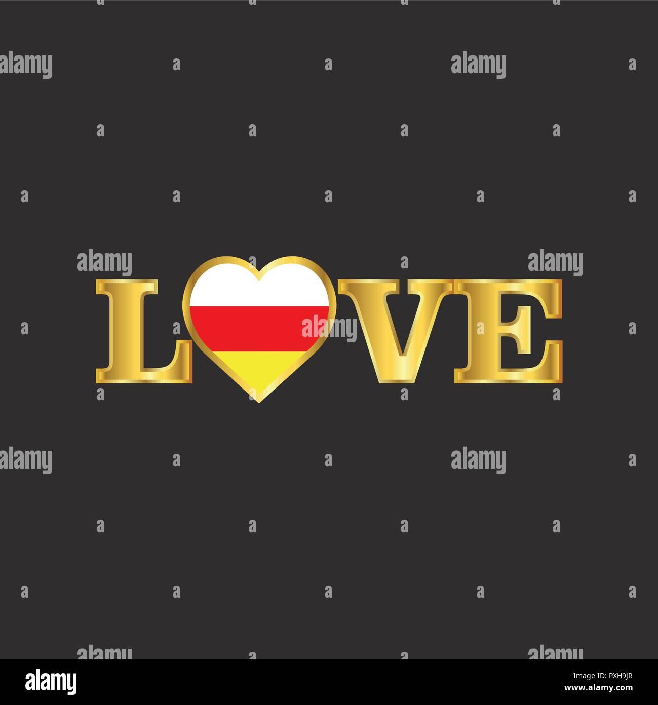 Golden Love typography South Ossetia flag design vector - Stock Image