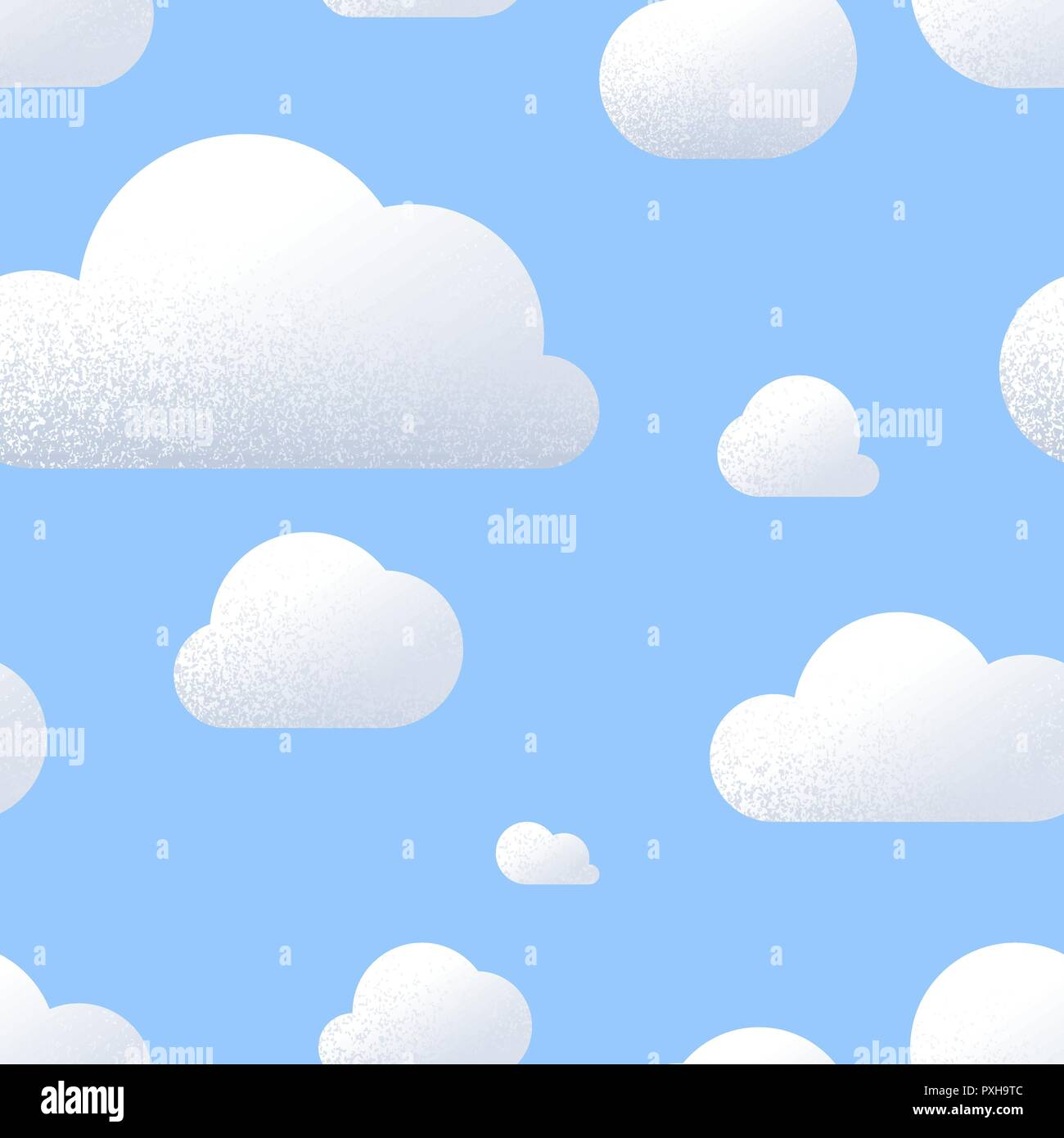 a lot of cute clouds with texture in blue sky cartoon seamless
