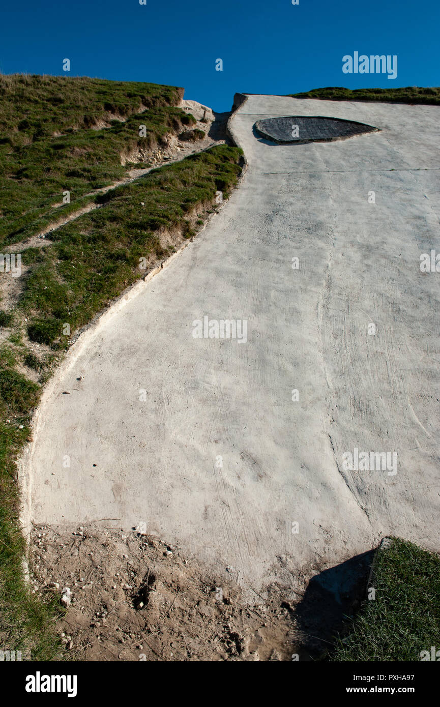 Close up views at the head of White Horse, Westbury, Wiltshire, UK. Stock Photo