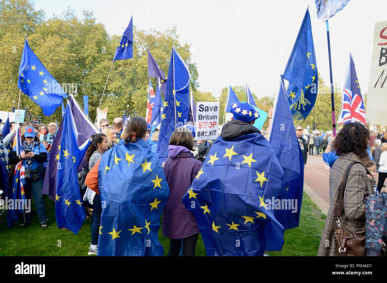 people wearing and holding european union flags at the peoples vote march in london october 20th 2018 - Stock Image
