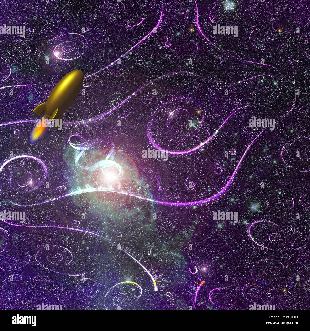 Deep space with spirals of time. Retro Rocket. - Stock Image