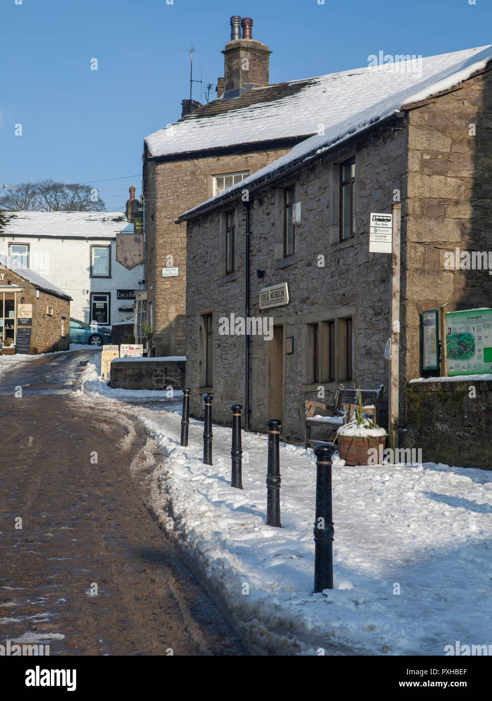 Winter view of Grassington Folk Museum in North Yorkshire after snow Stock Photo