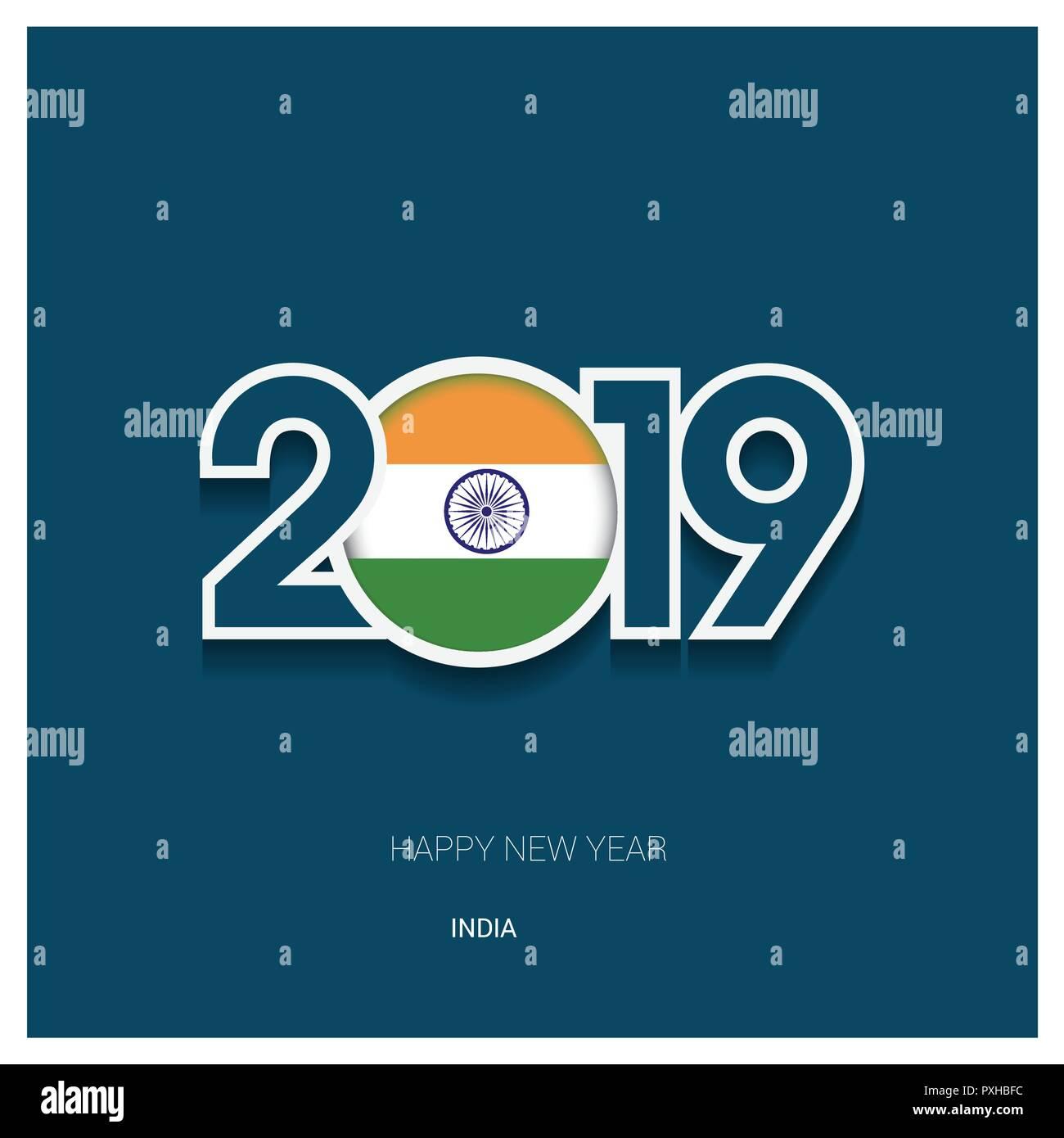 2019 india typography happy new year background