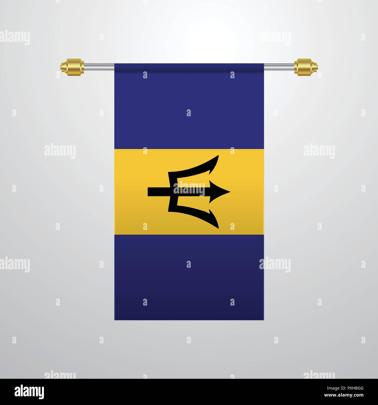 Barbados hanging Flag - Stock Vector