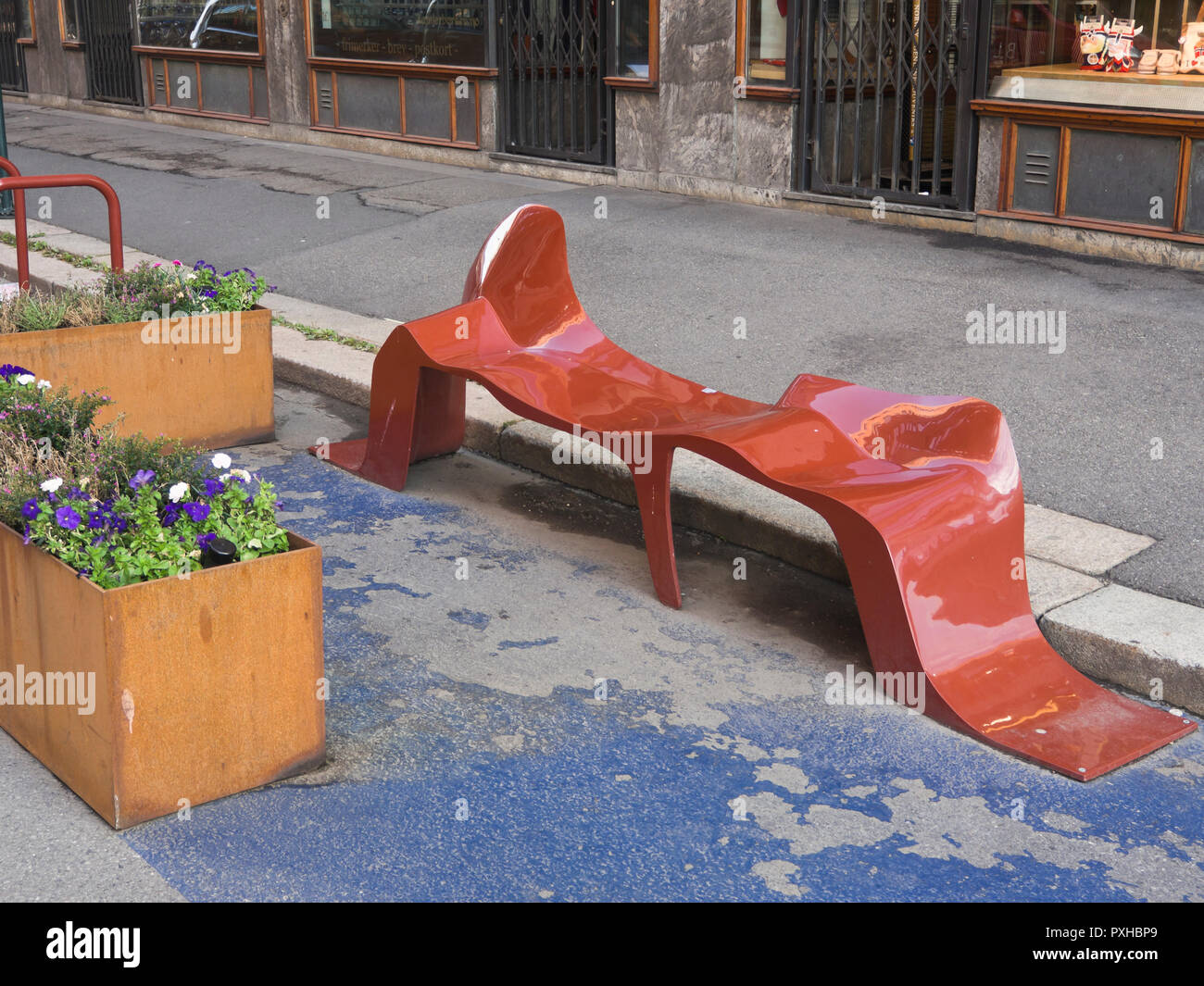 Street furniture and flowerboxes in the centre of Oslo Norway, trying out ways to use the car free sones - Stock Image