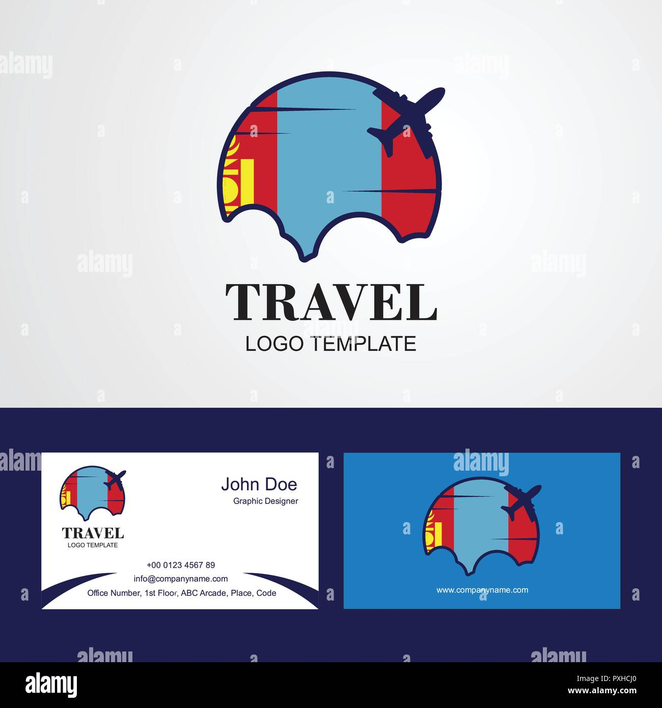 Travel Mongolia Flag Logo and Visiting Card Design - Stock Vector