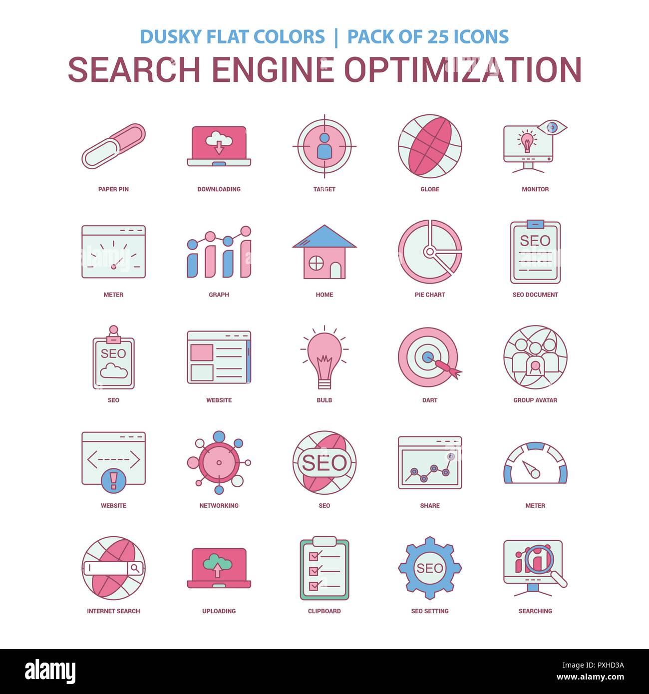 Search Engine Optimization icon Dusky Flat color - Vintage