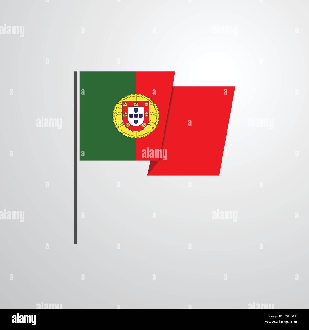 Portugal waving Flag design vector Stock Vector Art & Illustration