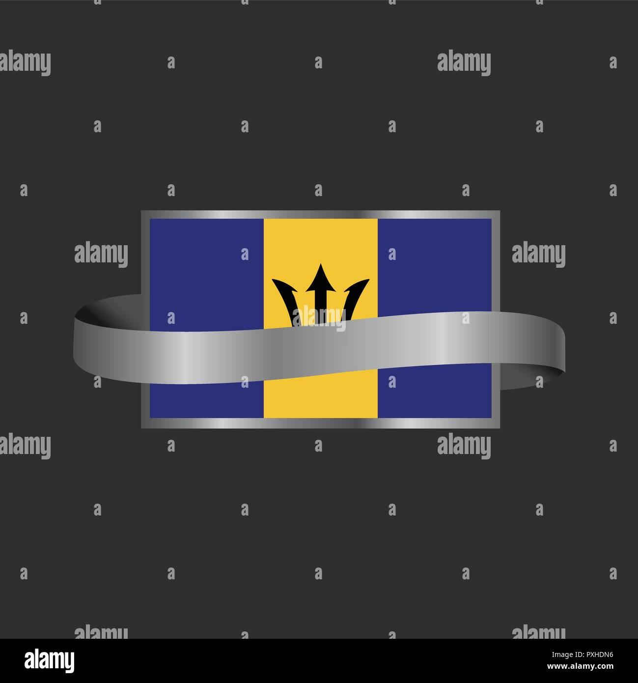 Barbados flag Ribbon banner design - Stock Vector
