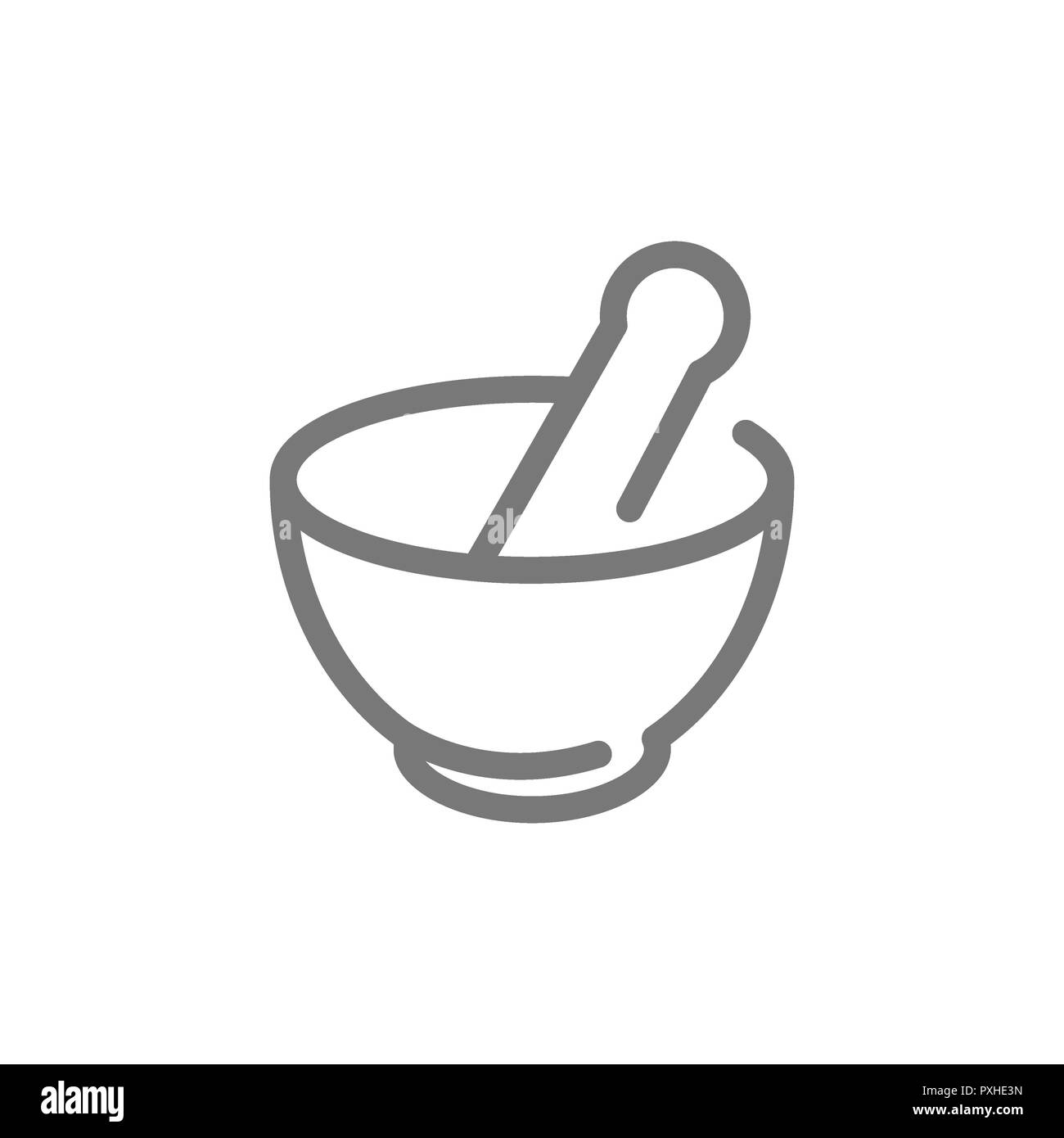 Simple chemical vessel, mortar, pestle, pistil, pounder line icon. Symbol and sign illustration design. Isolated on white background Stock Photo