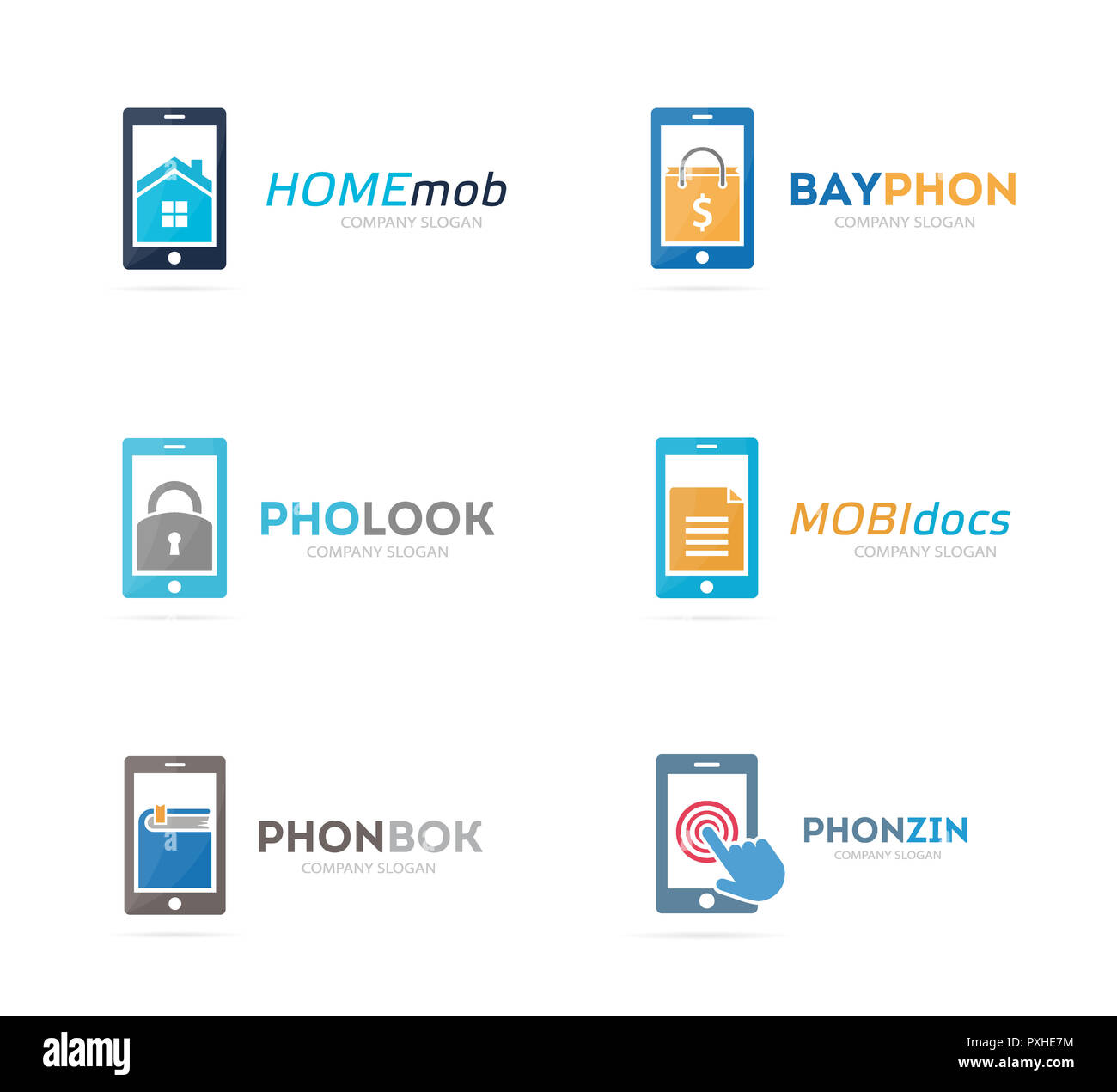 Set of phone logo combination. Mobile and gadget symbol or icon. Unique telephone and cellphone logotype design template. - Stock Image