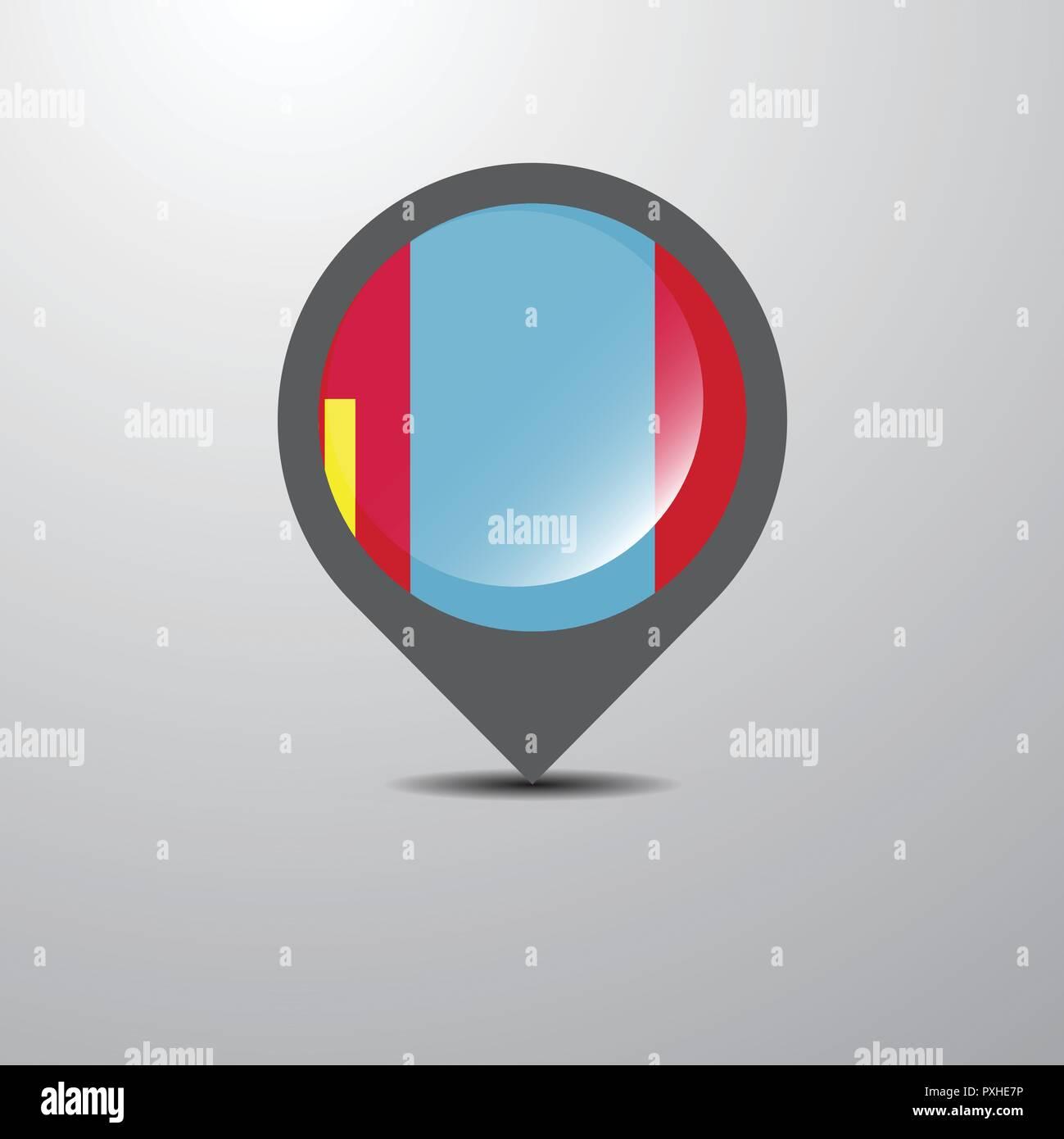 Mongolia Map Pin - Stock Image