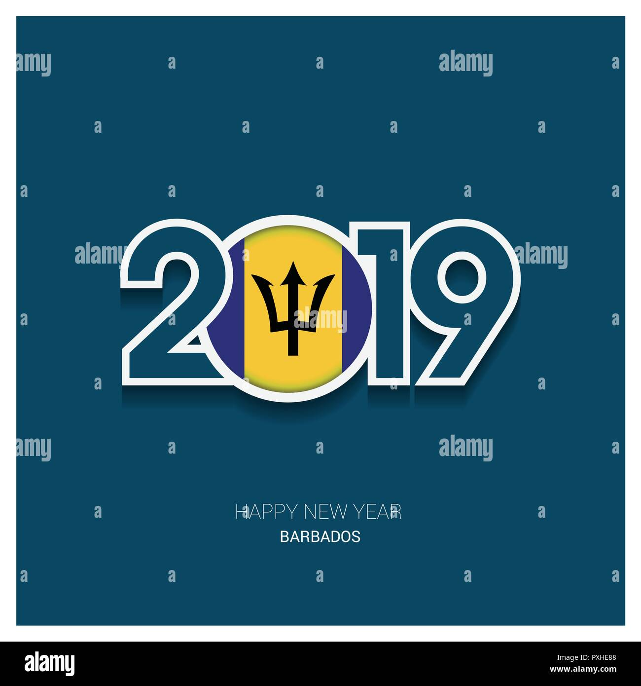 2019 Barbados Typography, Happy New Year Background - Stock Vector