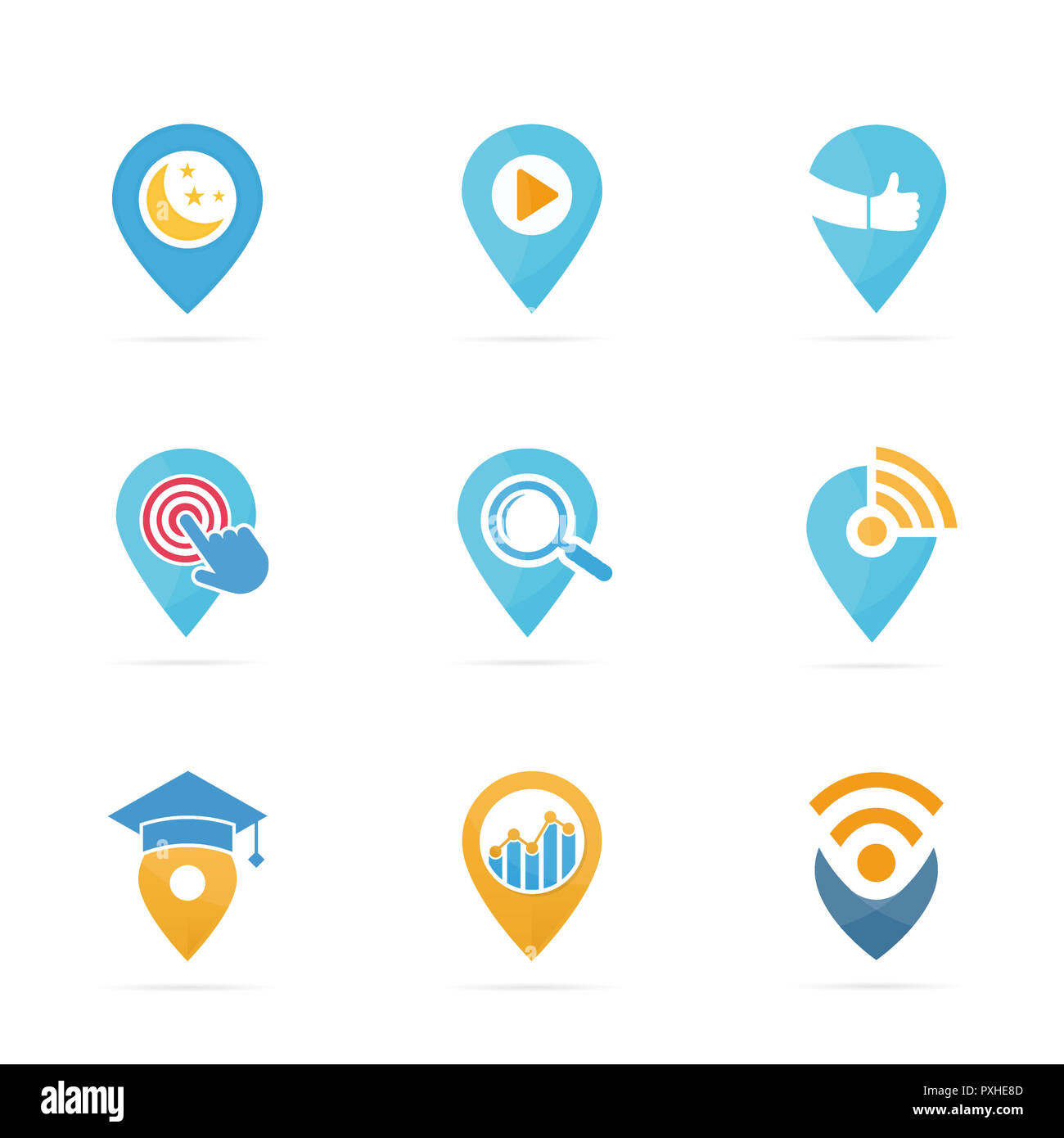Set of map pointer logo combination. GPS locator and pin symbol or icon. Unique navigation and marker logotype design template. - Stock Image