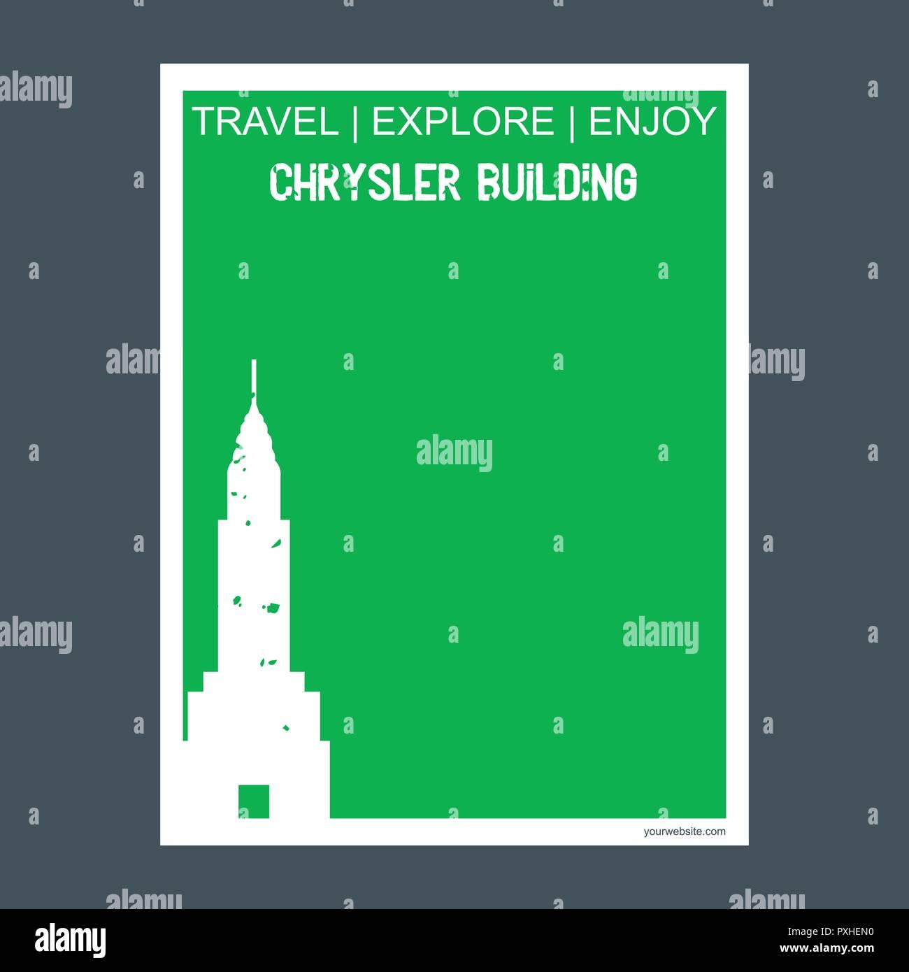 Chrysler Building Manhattan, New York monument landmark brochure Flat style and typography vector - Stock Vector