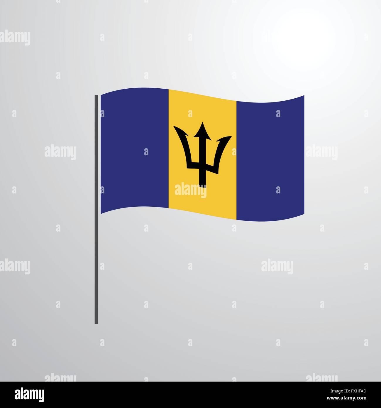 Barbados waving Flag - Stock Vector
