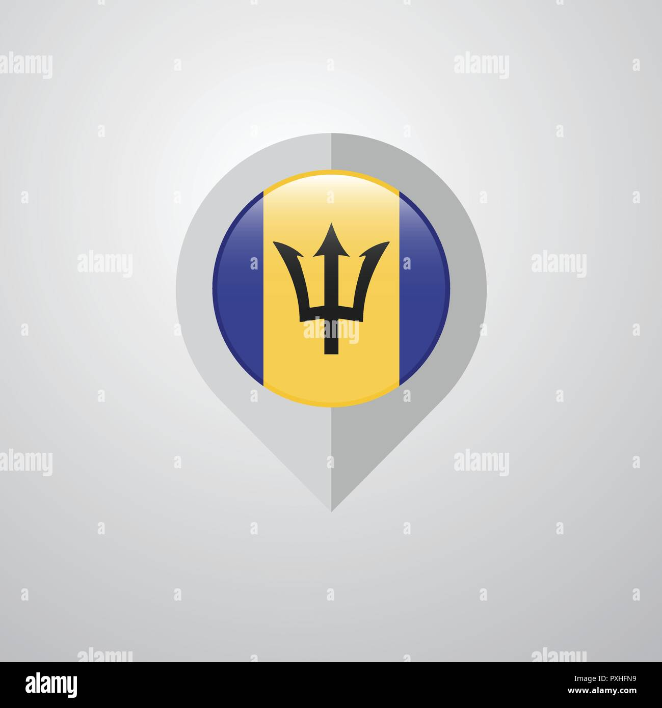 Map Navigation pointer with Barbados flag design vector - Stock Vector