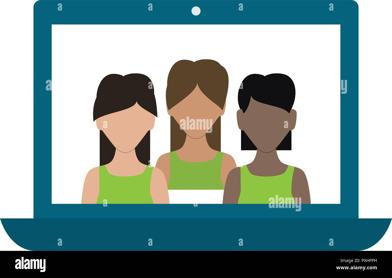 laptop computer with group of women vector illustration design - Stock Image