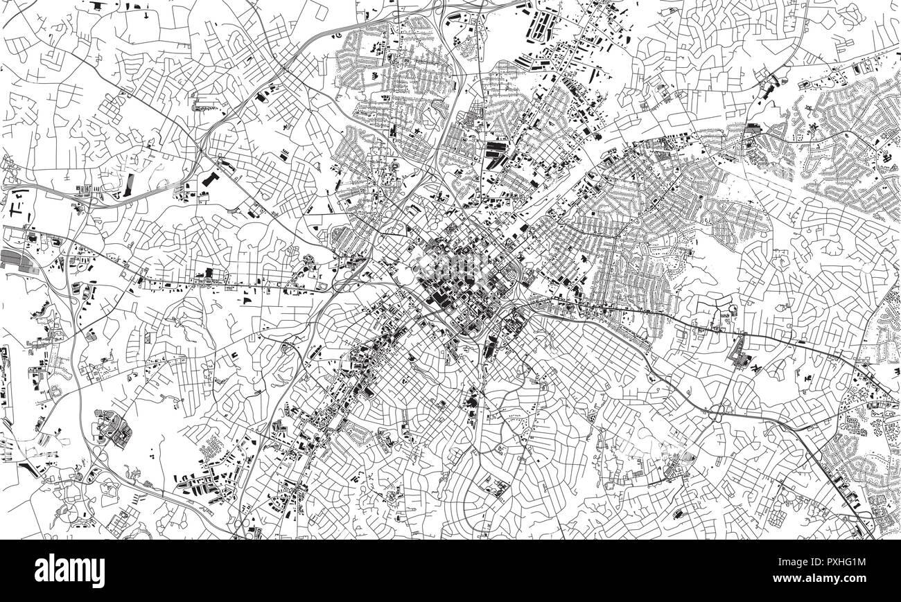 Satellite map of Charlotte, North Carolina, city streets. Street map on
