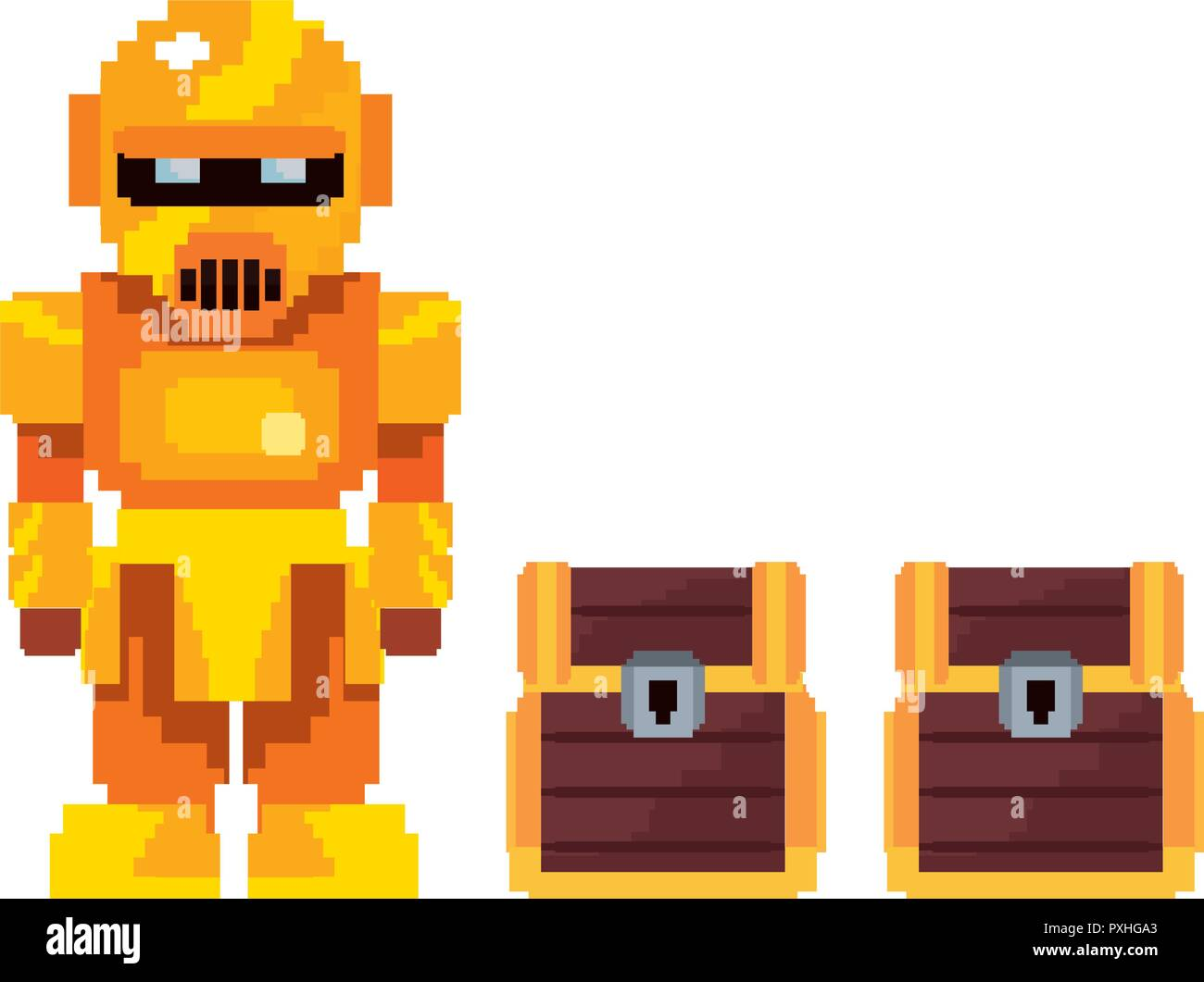 pixel video game robot and chests treasure vector illustration  - Stock Image