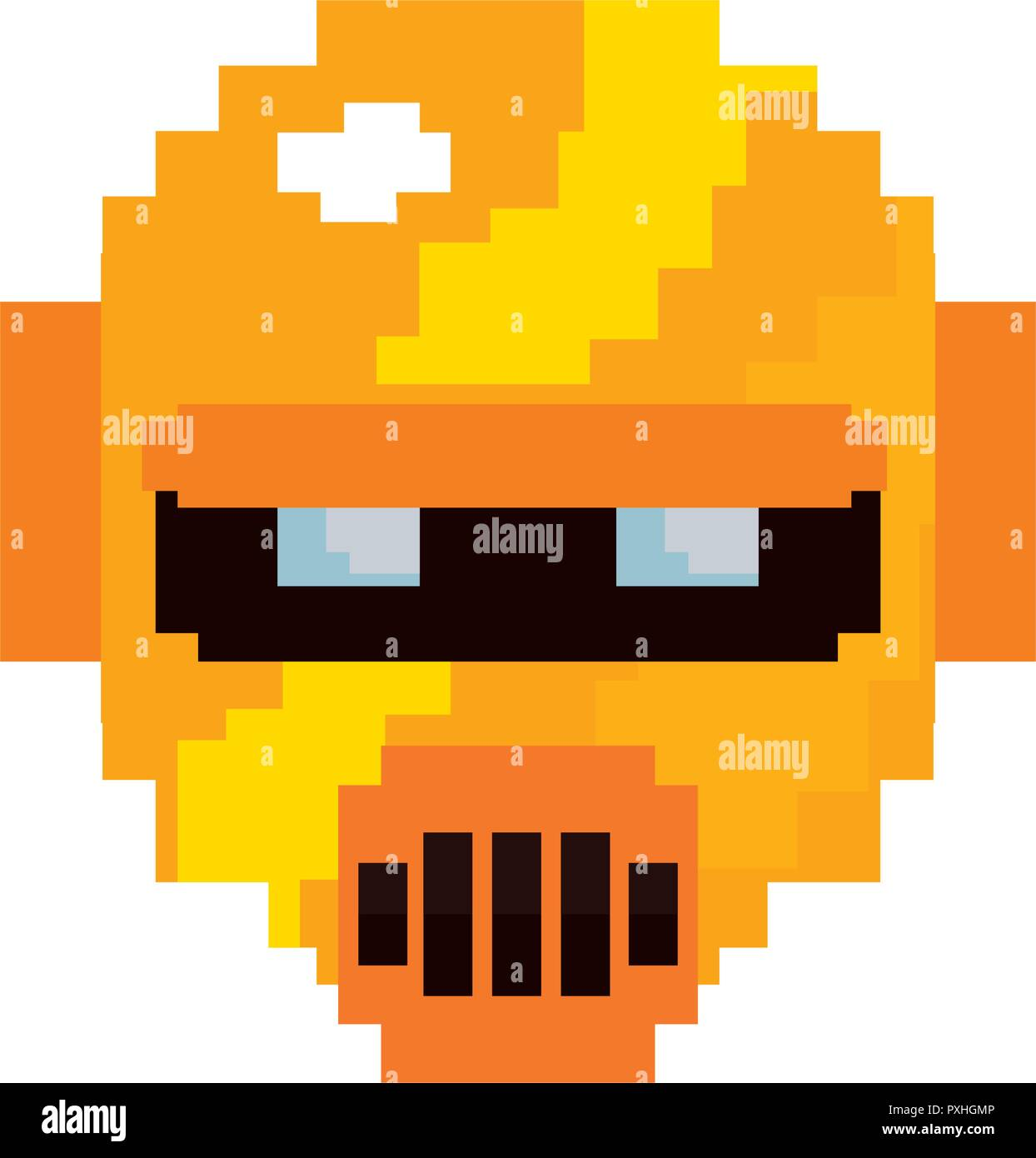 pixel video game gold robot vector illustration  - Stock Image