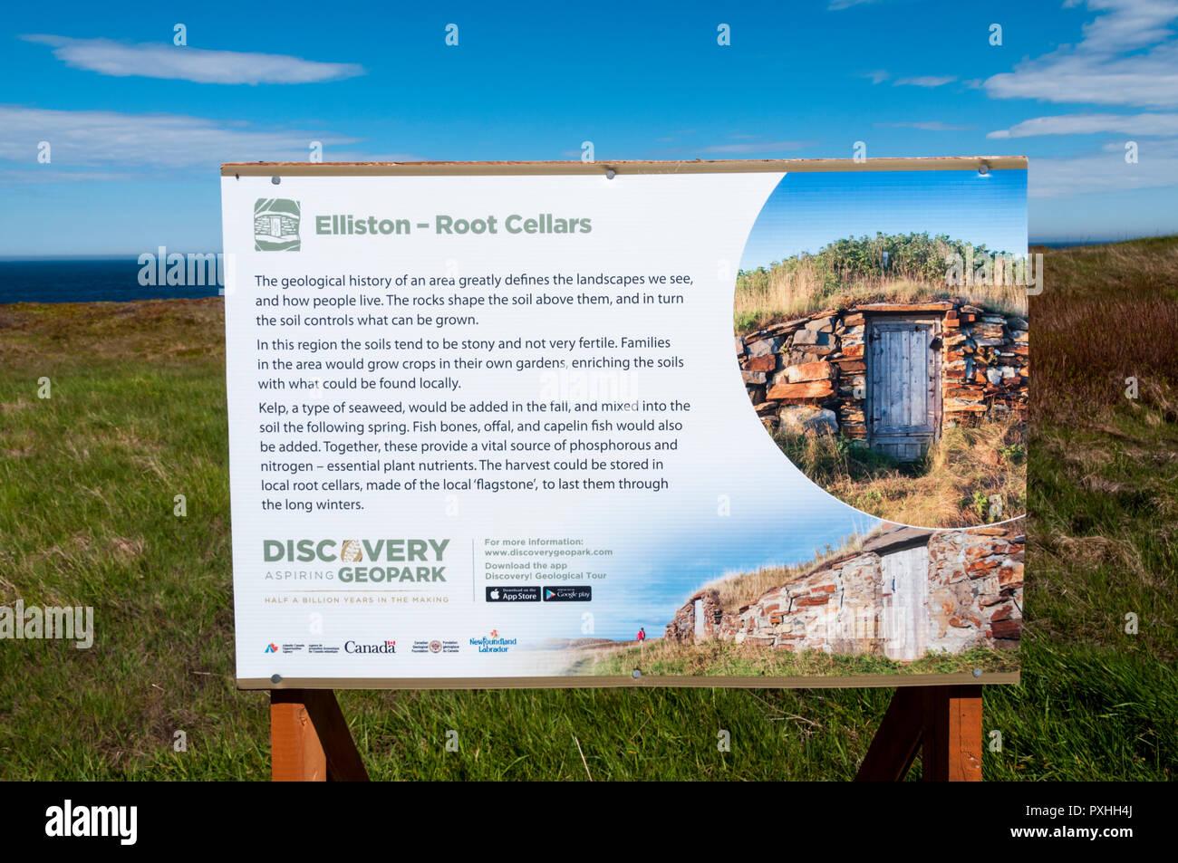 Interpretive sign about Elliston root cellars, Newfoundland. - Stock Image