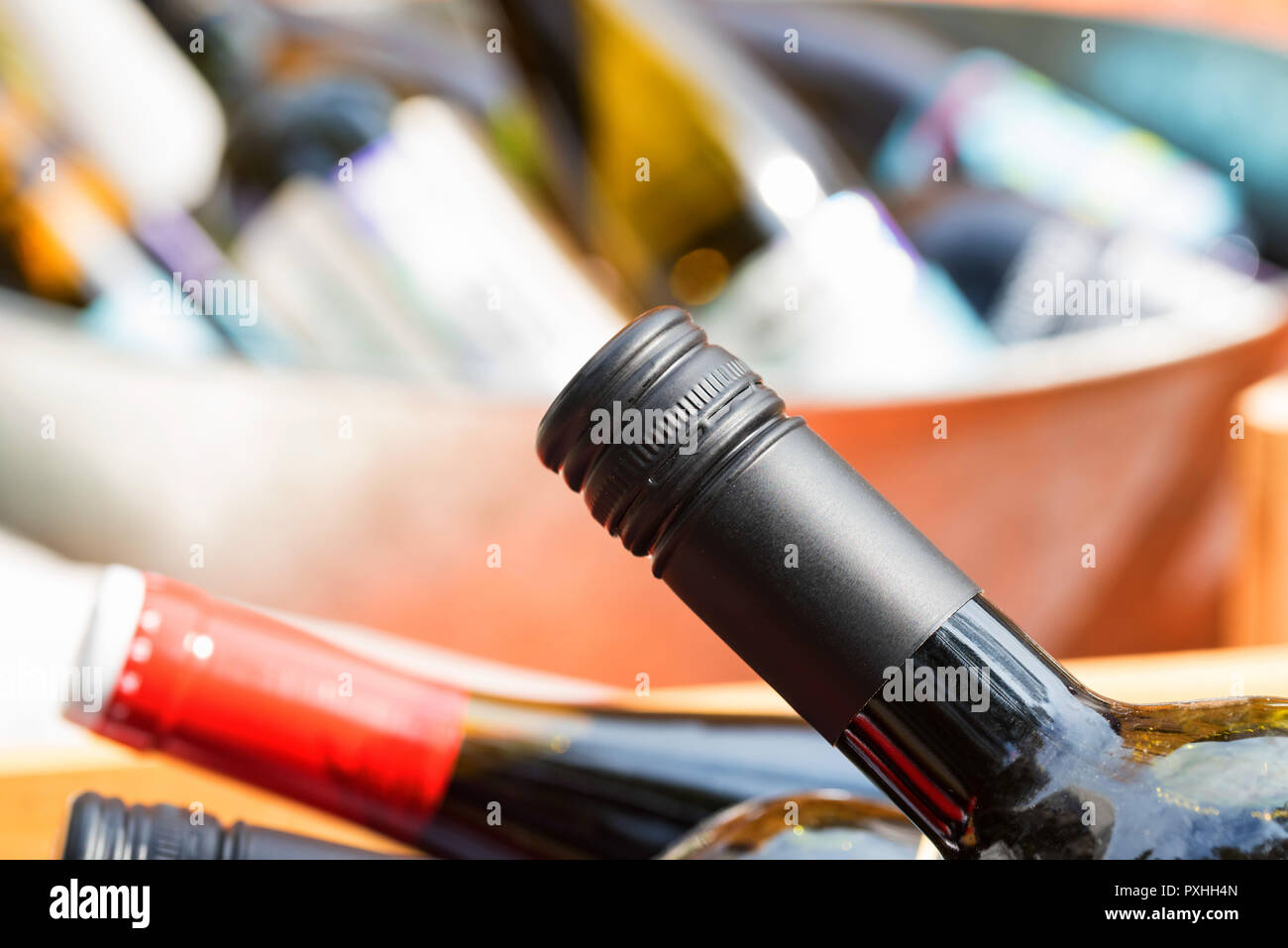 Close up of full and corked bottles of wine Stock Photo