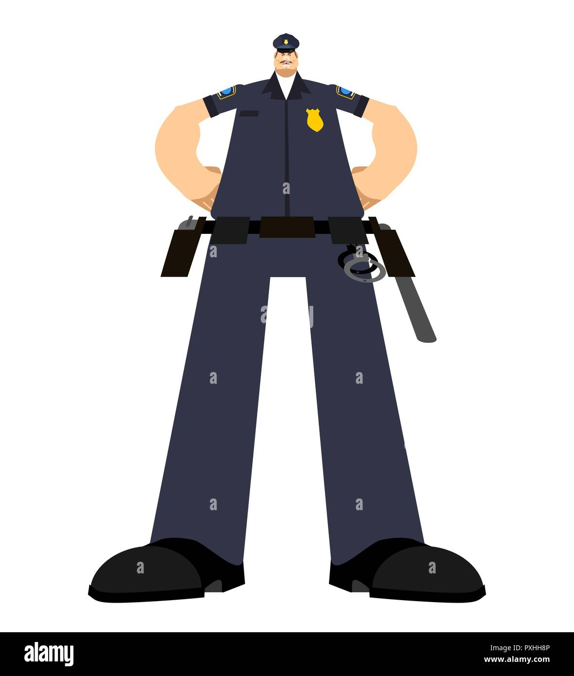 big cop serious policeman strong officer police vector illustration stock image