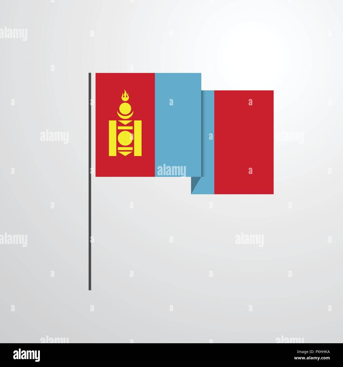 Mongolia waving Flag design vector - Stock Vector