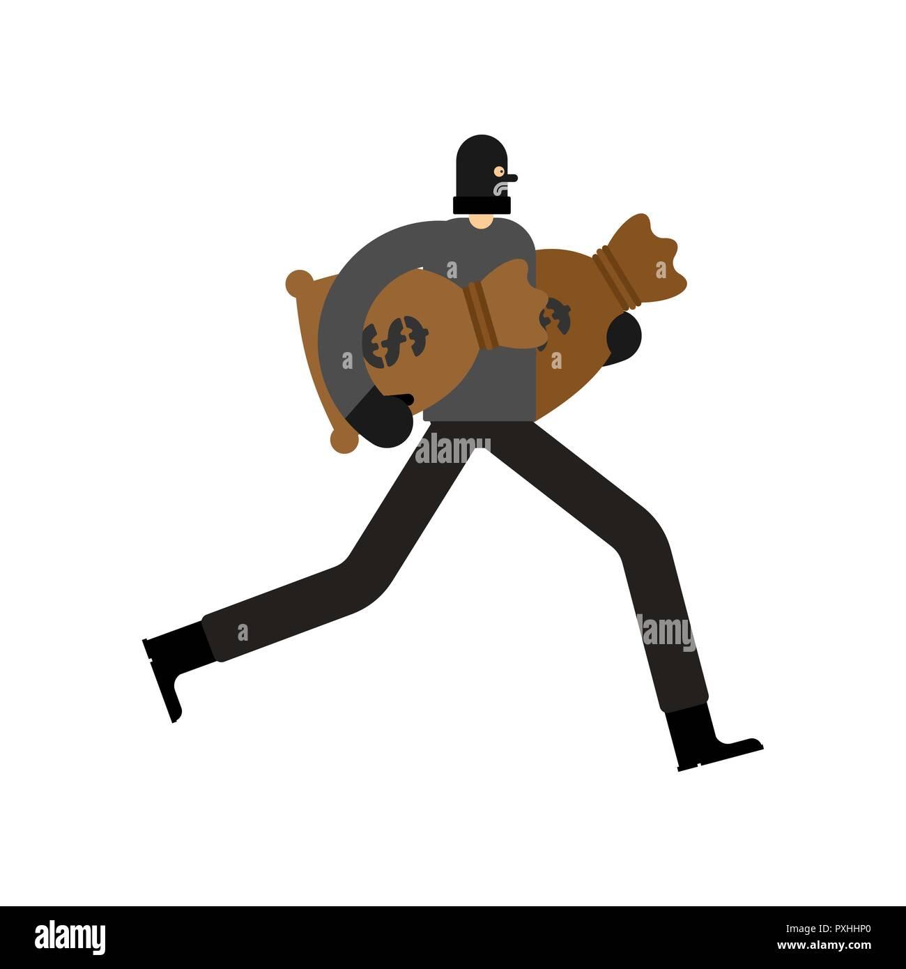6167546a564 Robber and bag of money. burglar in mask run. plunderer Vector illustration
