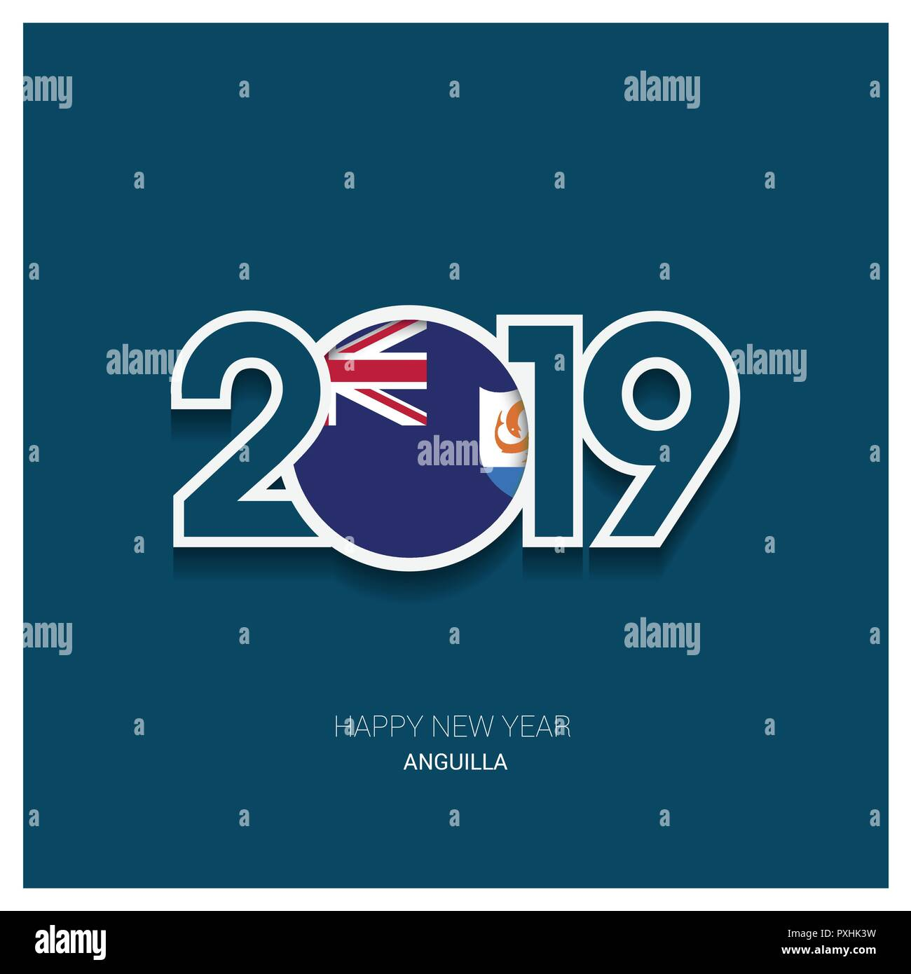 2019 Anguilla Typography, Happy New Year Background - Stock Vector