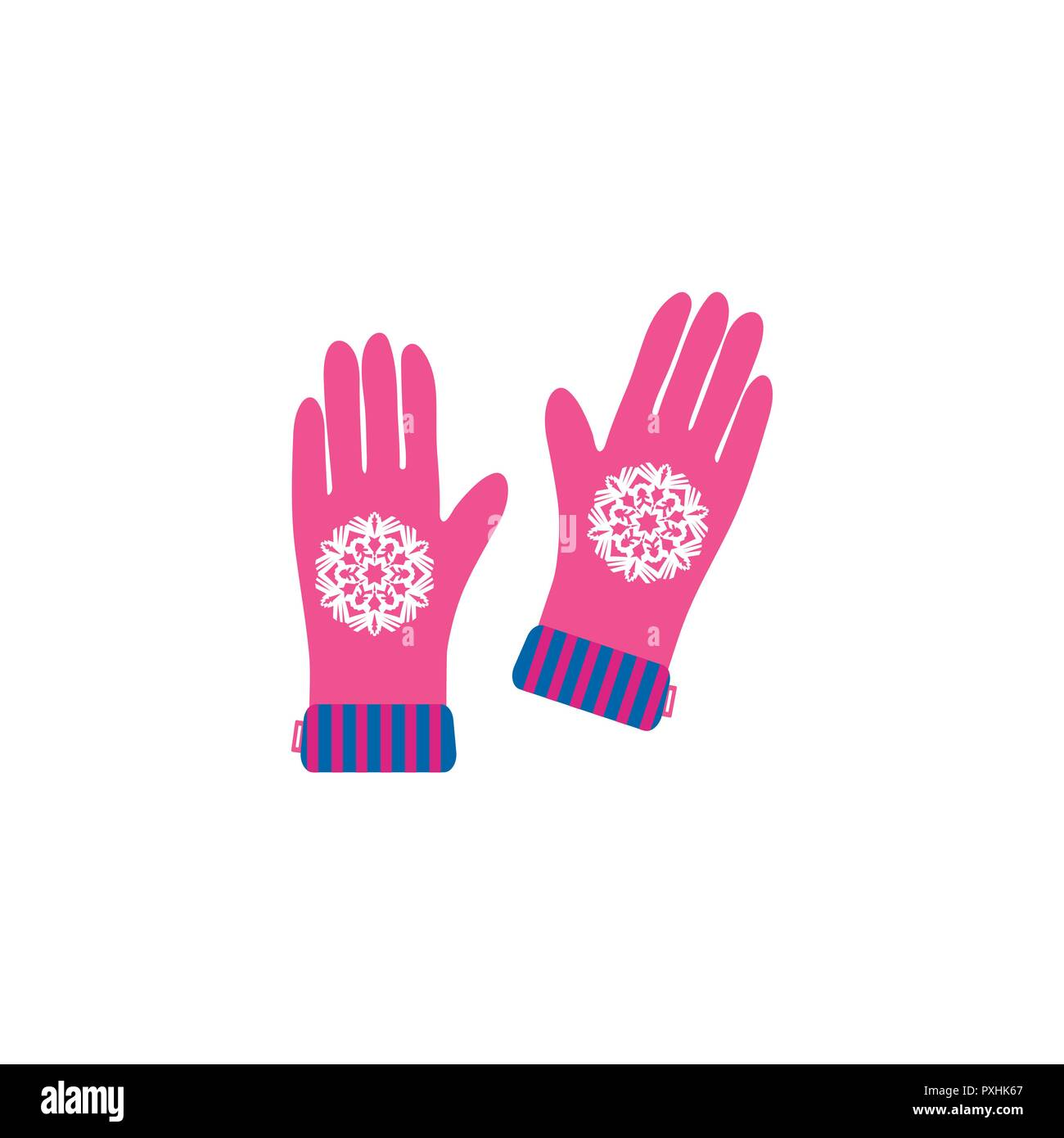 Merry Christmas greeting card with gloves and snowflake . Flat style of icons for presents, invitation, children room decor, interior design. - Stock Vector