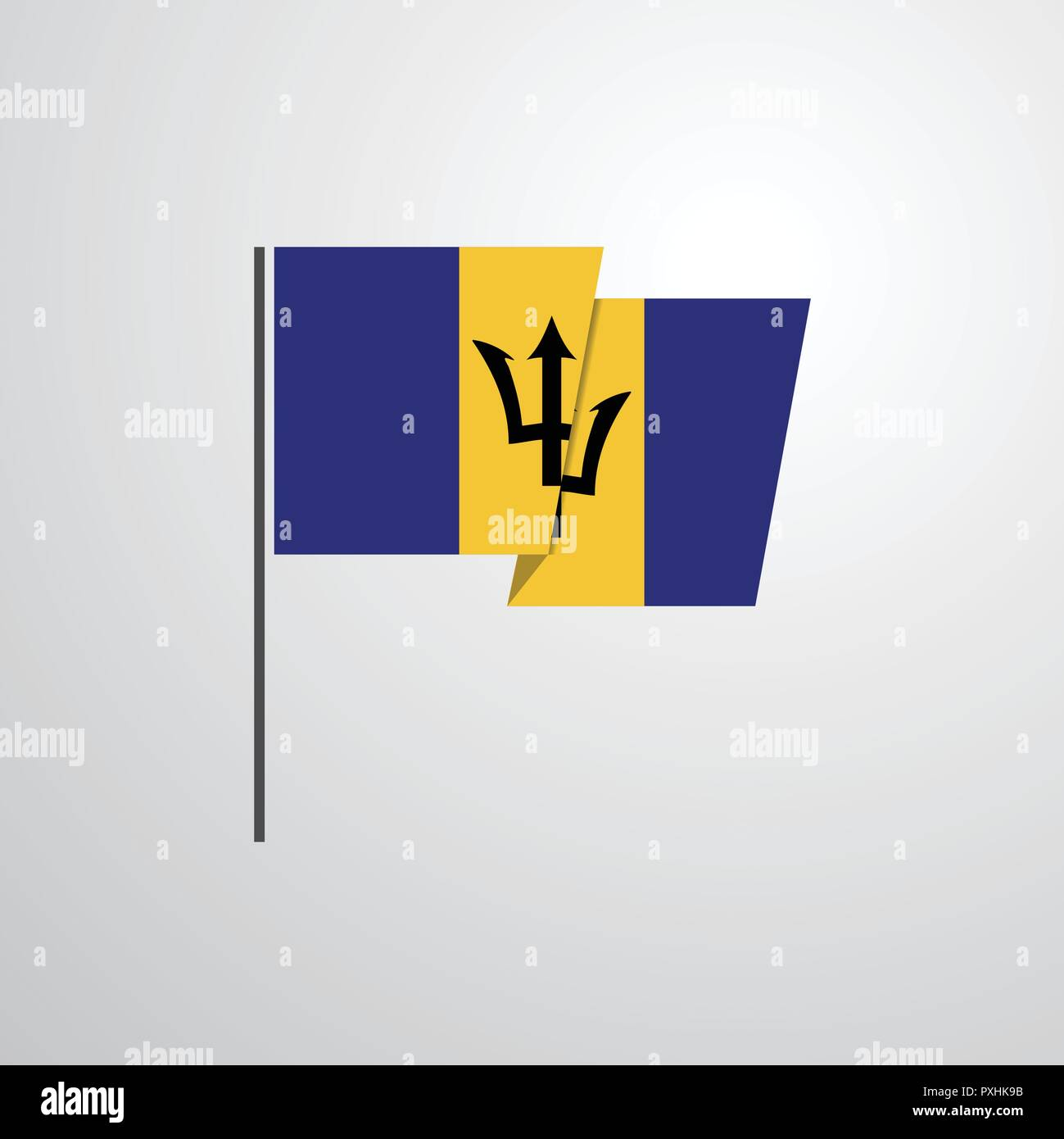Barbados waving Flag design vector - Stock Vector