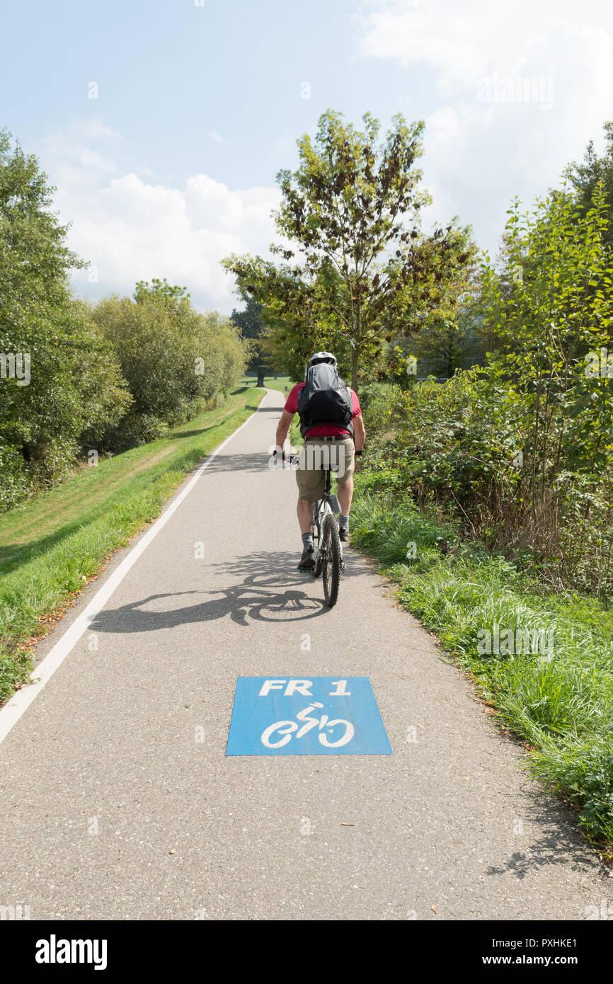 Freiburg im Breisgau FR1 cycle lane, Baden-Wurttemberg, Germany, Europe - Stock Image