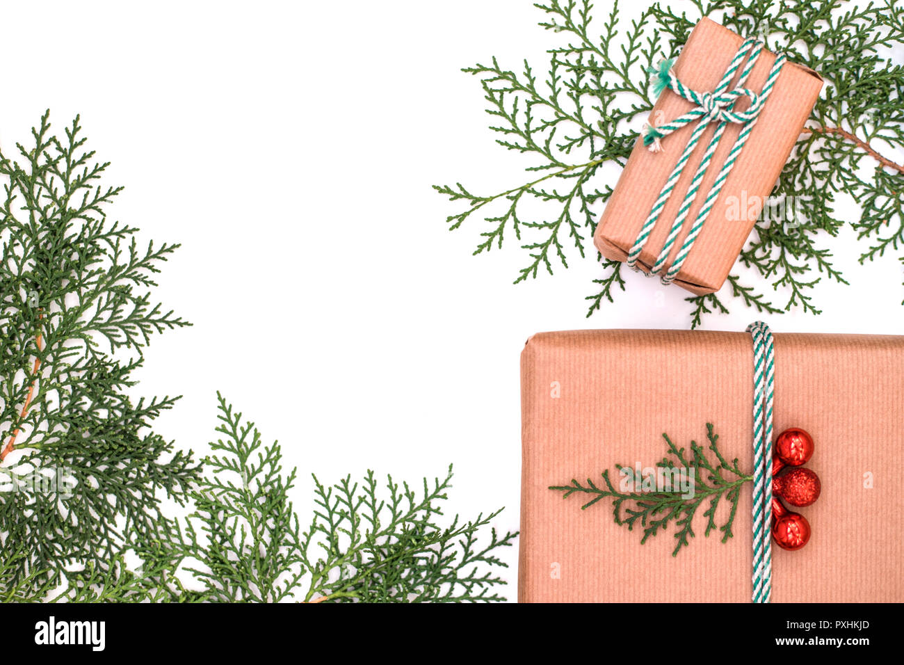Christmas holiday\'s composition. Christmas knitted gifts, evergreens ...