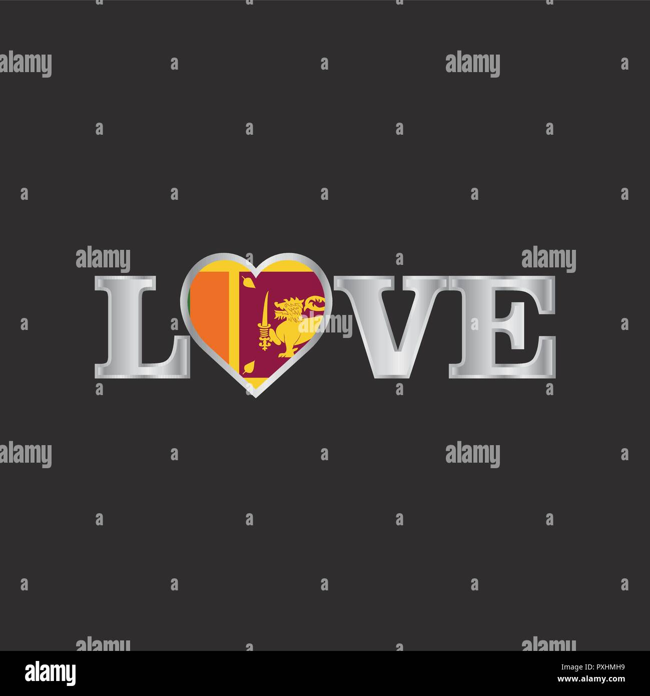 Love typography with sri lanka flag design vector stock image