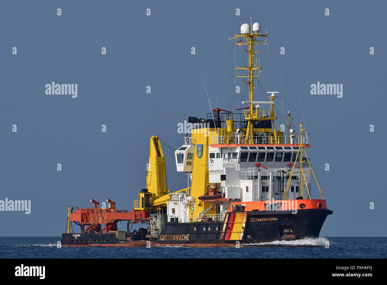 Bouy tender Scharhörn inbound for Kiel Stock Photo