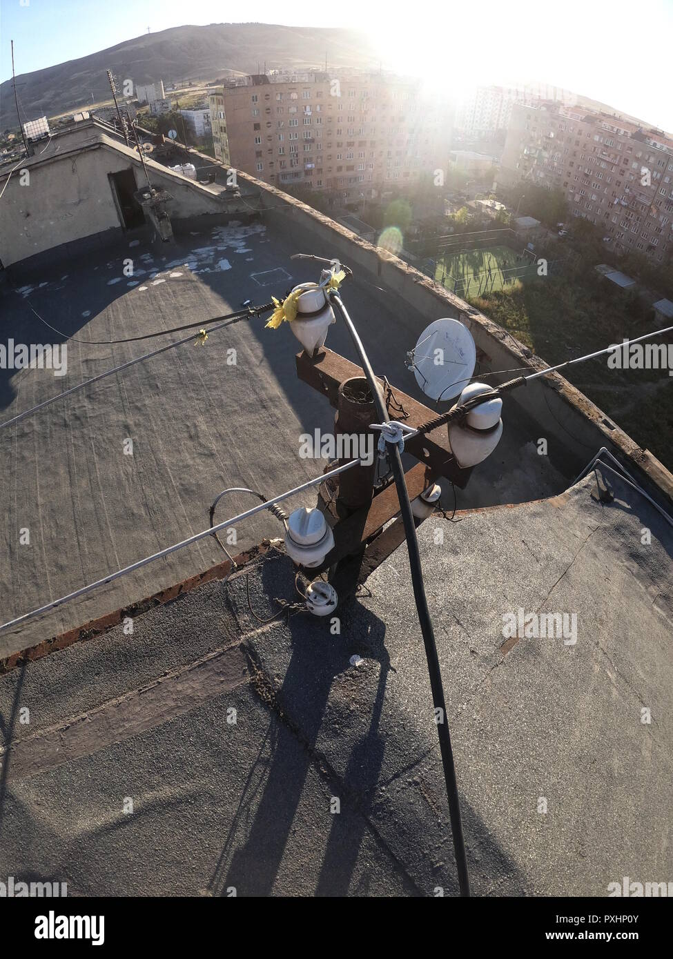Old Wiring Stock Photos Images Alamy In House On The Roof Of Image