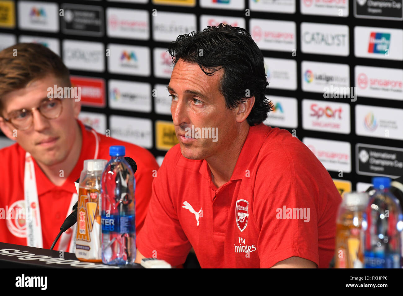 Kallang-Singapore-26Jul2018:Unai emery head coach of arsenal press conference after icc2018 between arsenal against at atletico de madrid at national  - Stock Image