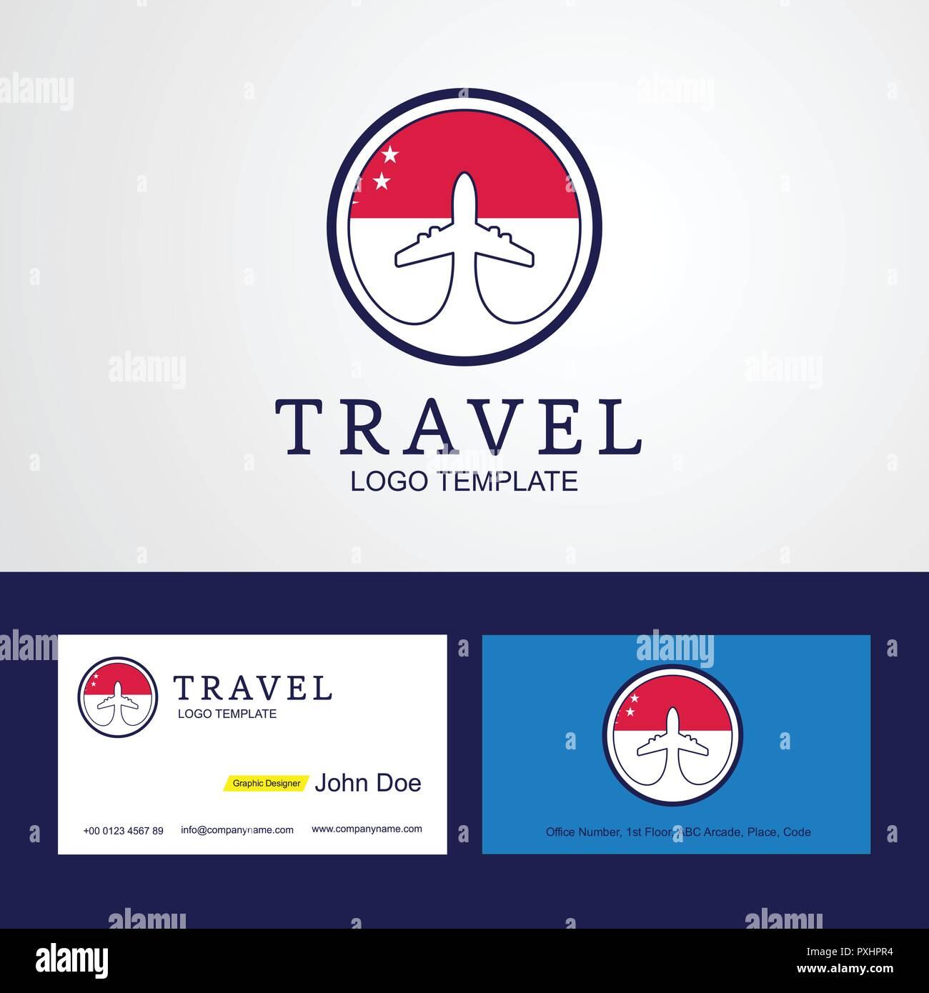 Travel Singapore Creative Circle Flag Logo And Business Card Design