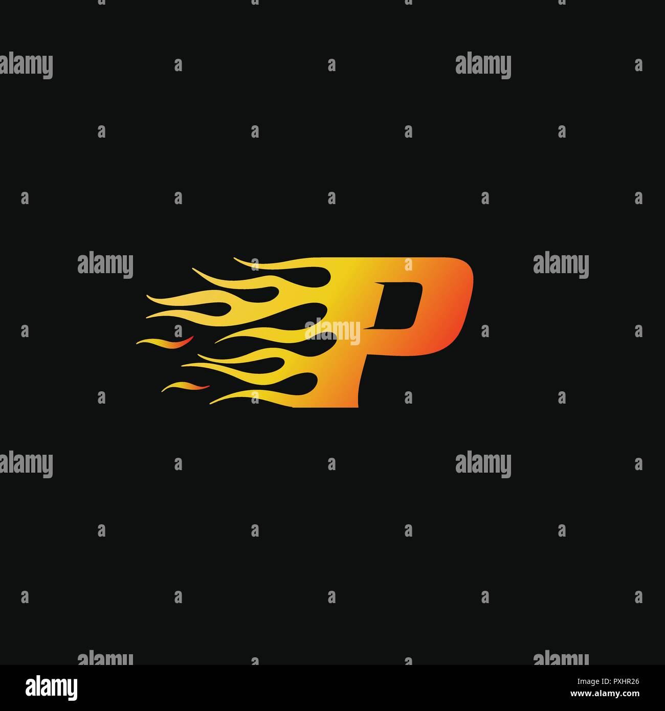 letter Burning flame logo design template Stock Vector