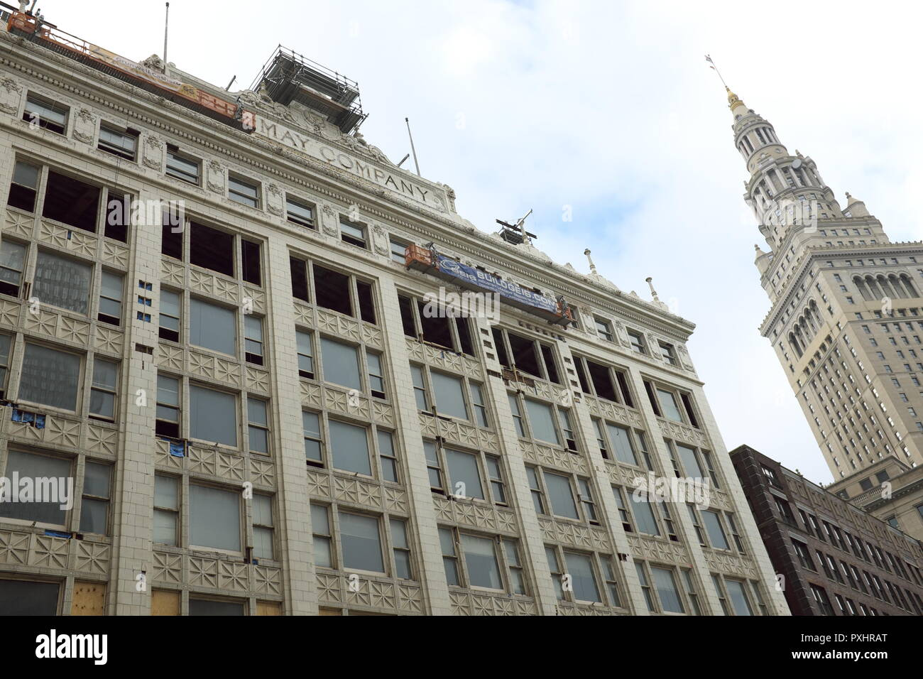 The May Company building, an historic department store in downtown Cleveland, Ohio, USA is being converted into a mixed-use property. - Stock Image